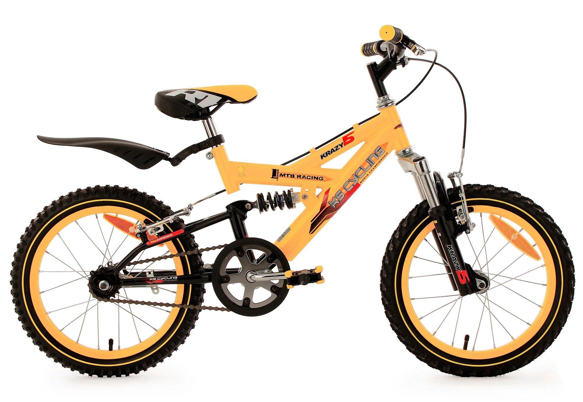 Kinderfahrrad, MTB, KS Cycling, »Krazy«, 16 Zoll, gelb, ohne Schaltung, Rücktritt