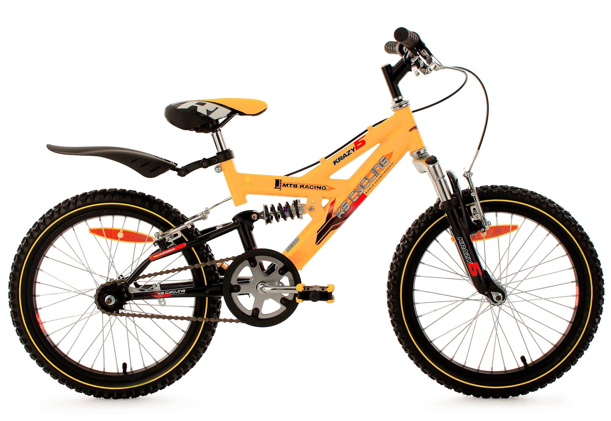 Kinderfahrrad, MTB, KS Cycling, »Krazy«, 18 Zoll, gelb, ohne Schaltung, Rücktritt