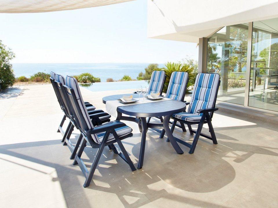 9-tgl. Gartenmöbelset »Kansas«, 4 Klappsessel, ovaler Tisch 145x95 cm, Kunststoff, blau in blau