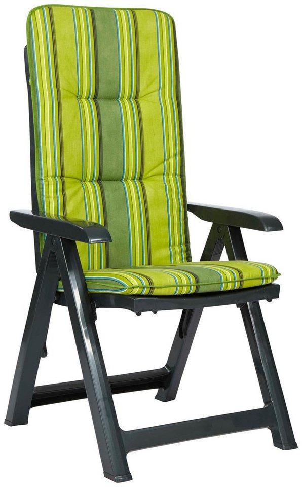 BEST Gartenstuhl »Kansas«, (2er Set), Kunststoff, verstellbar, inkl. Auflagen, grün in grün