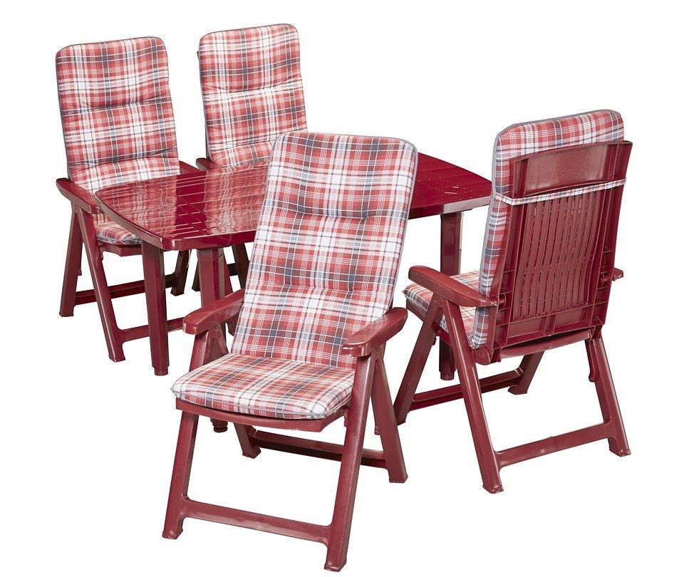 9-tgl. Gartenmöbelset »Kopenhagen«, 6 Klappsessel, Tisch 140x85 cm, Kunststoff, bordeaux-rot in bordeaux-rot