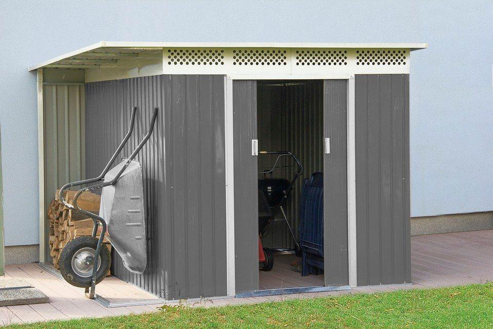 GARTENPRO Stahlgerätehaus »Nero B«, BxT: 257x206 cm, inkl. Seitendach mit 54 cm Breite in cremefarben/grau