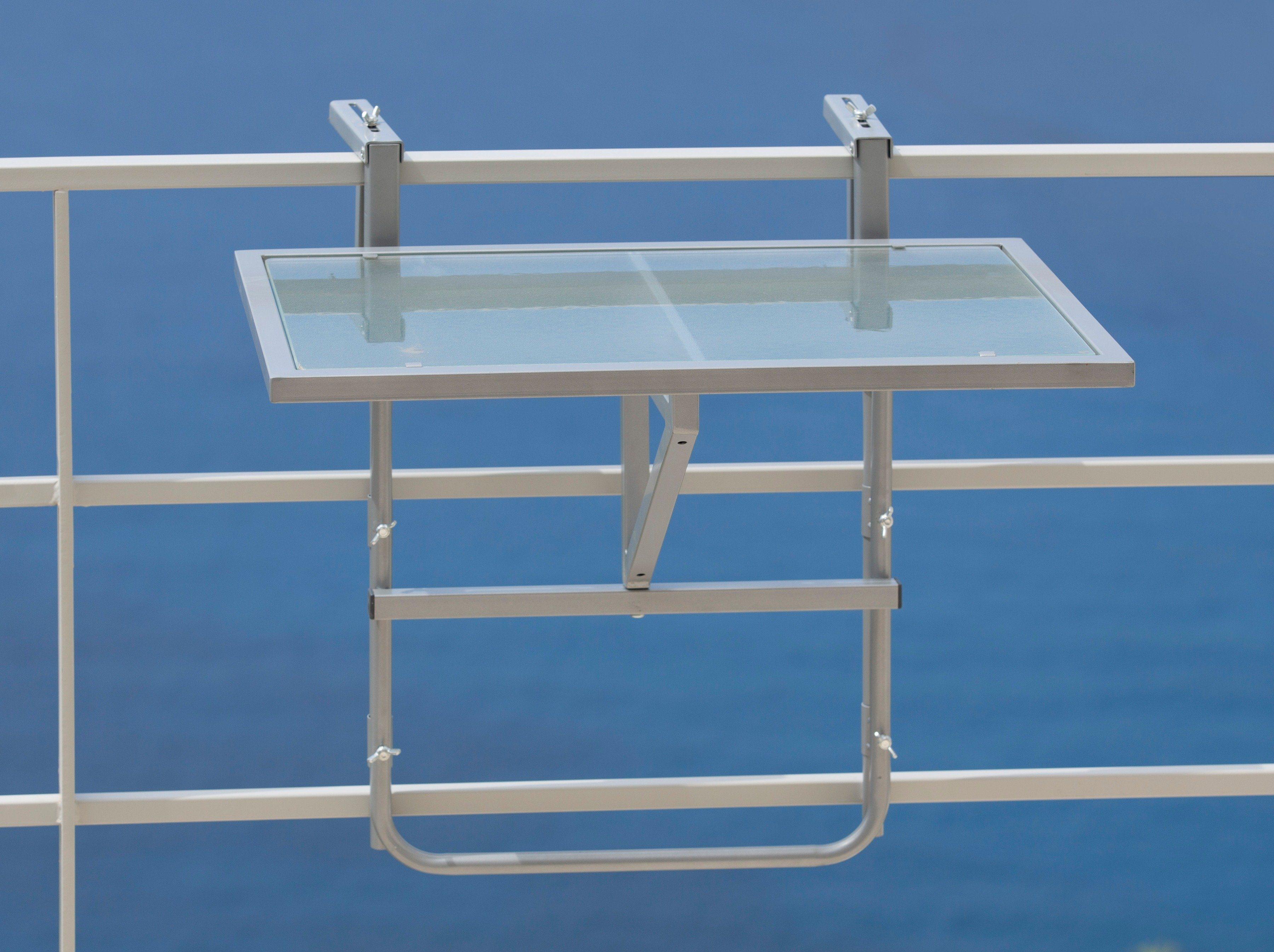 Balkonhängetisch , Stahl/Glas, klappbar   Garten > Balkon > Balkontische