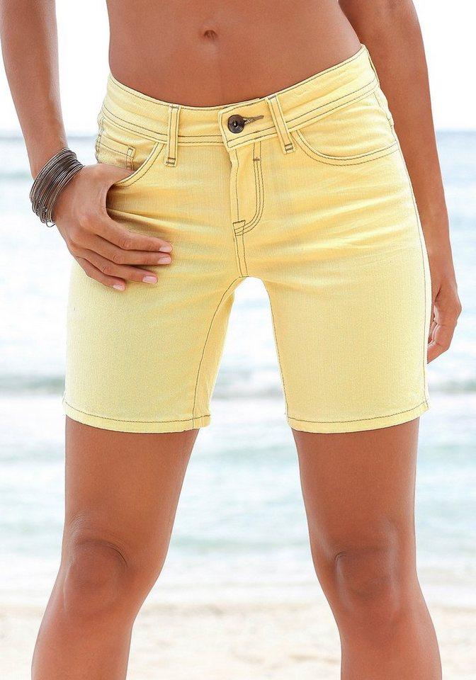 s.Oliver RED LABEL Beachwear Shorts zum Krempeln in gelb