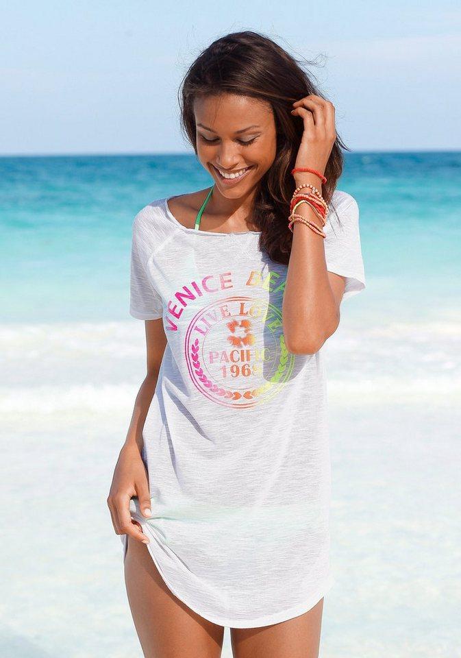 Venice Beach Longshirt mit Frontprint in weiß