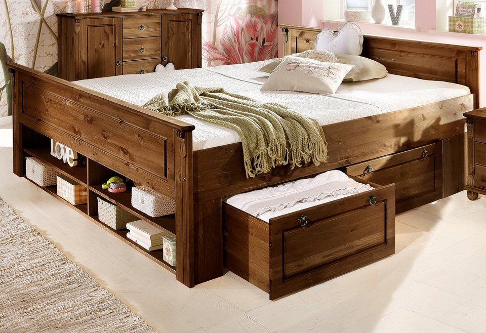 bett home affaire tessin aus massiver kiefer online kaufen otto. Black Bedroom Furniture Sets. Home Design Ideas