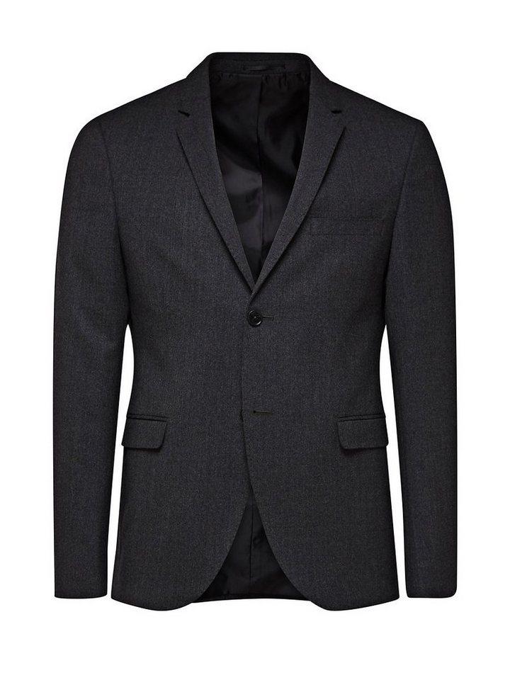 Jack & Jones Wollmix Blazer in Dark Grey Melange