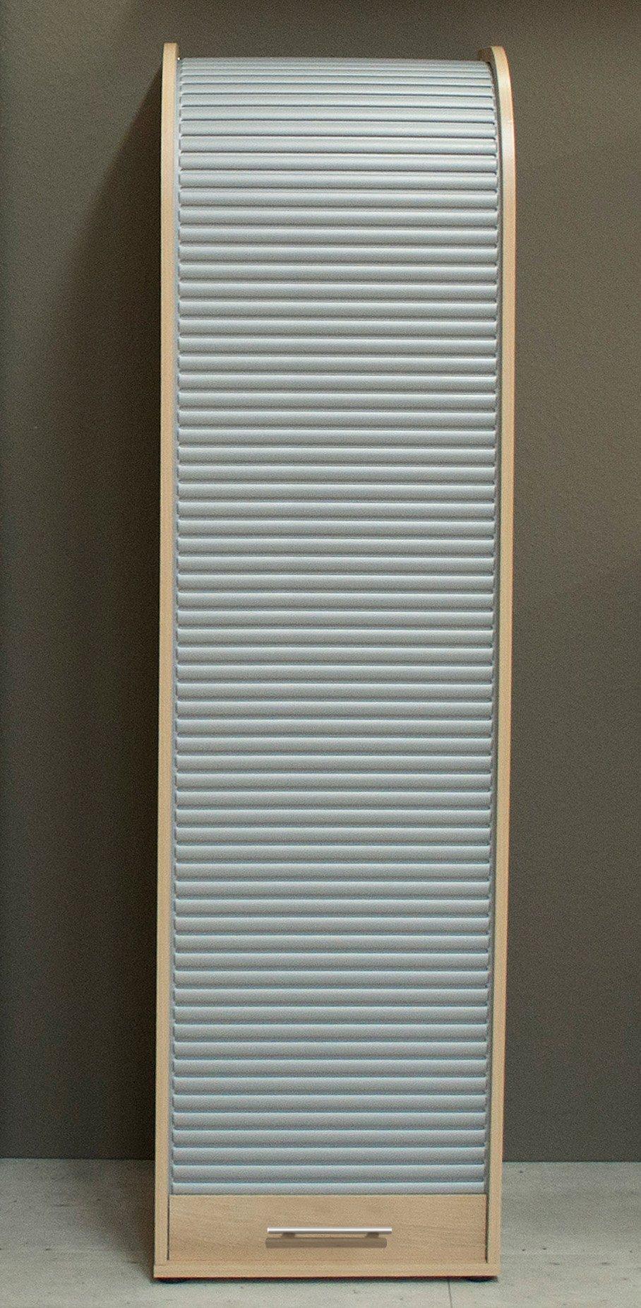 Jalousieschrank, Höhe 164 cm, mit viel Stauraum | Büro > Büroschränke > Aktenschränke | Silber - Weiß | Buche - Kunststoff - Melamin
