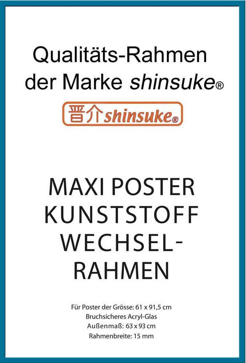 empireposter Rahmen »Posterrahmen Wechselrahmen Shinsuke® Maxi-Poster Profil: 15mm Kunststoff 61x91,5cm«, Farbe türkis mit Acryl-Scheibe