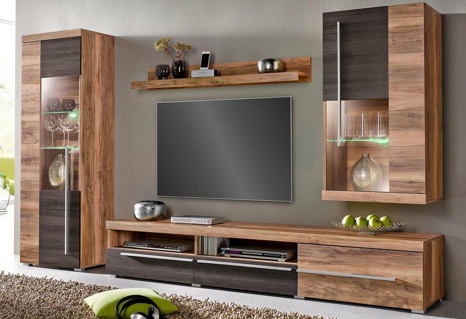 wohnwand holz eiche. Black Bedroom Furniture Sets. Home Design Ideas