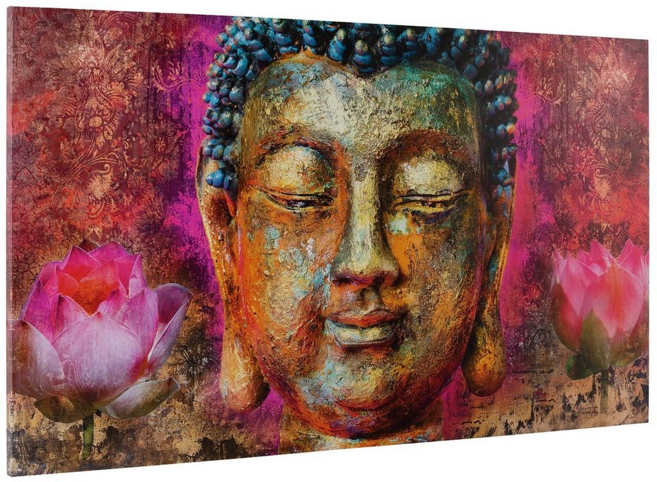 Bild, Home affaire, »Michael Tarin - buddha head«, 135/78 cm in goldfarben