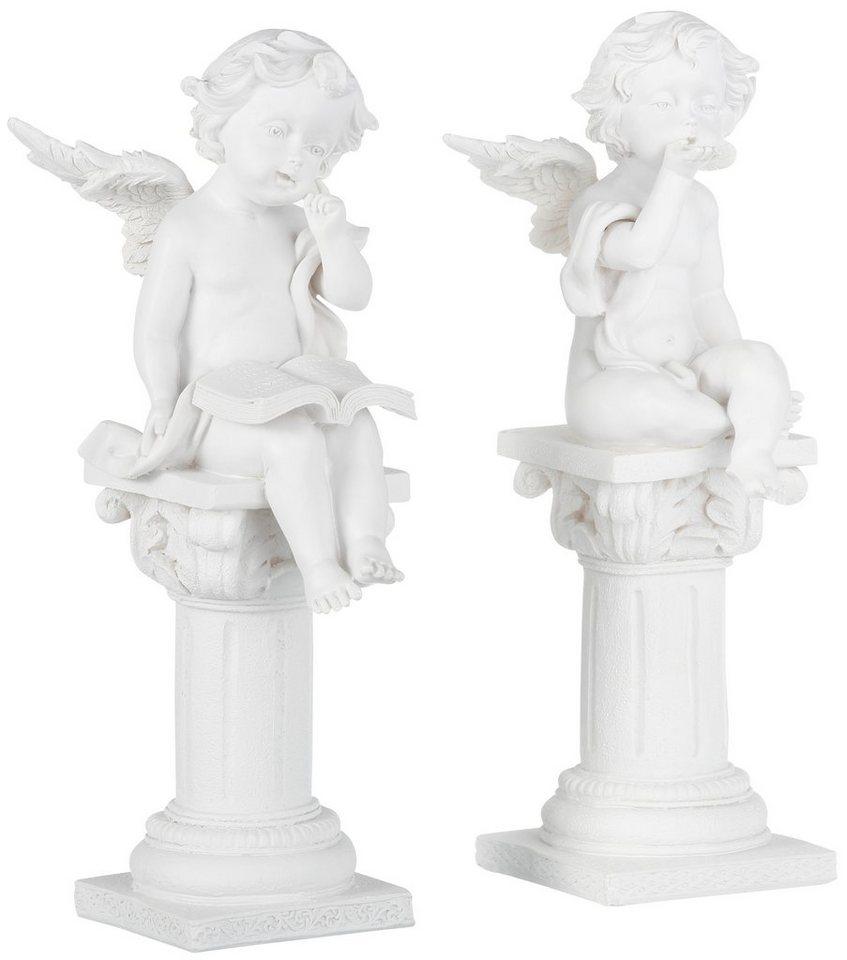 Dekofigur, Home affaire, »Engel auf Säule« (2-tlg.) in creme