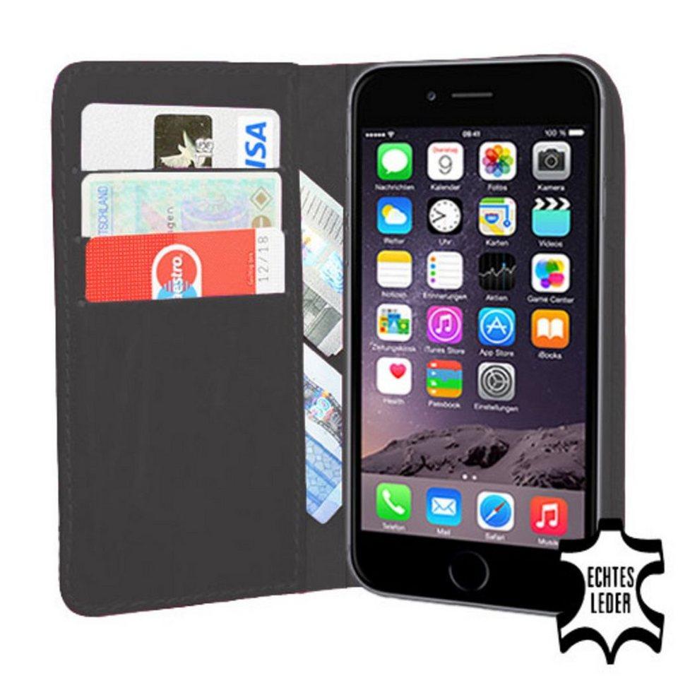 PEDEA Handytasche »Echtleder Book Cover für iPhone 6, Anthrazit« in Grau