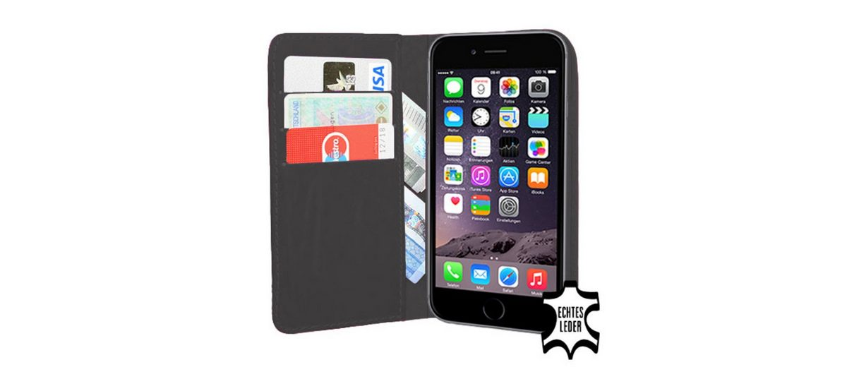 PEDEA Handytasche »Echtleder Book Cover für iPhone 6, Anthrazit«