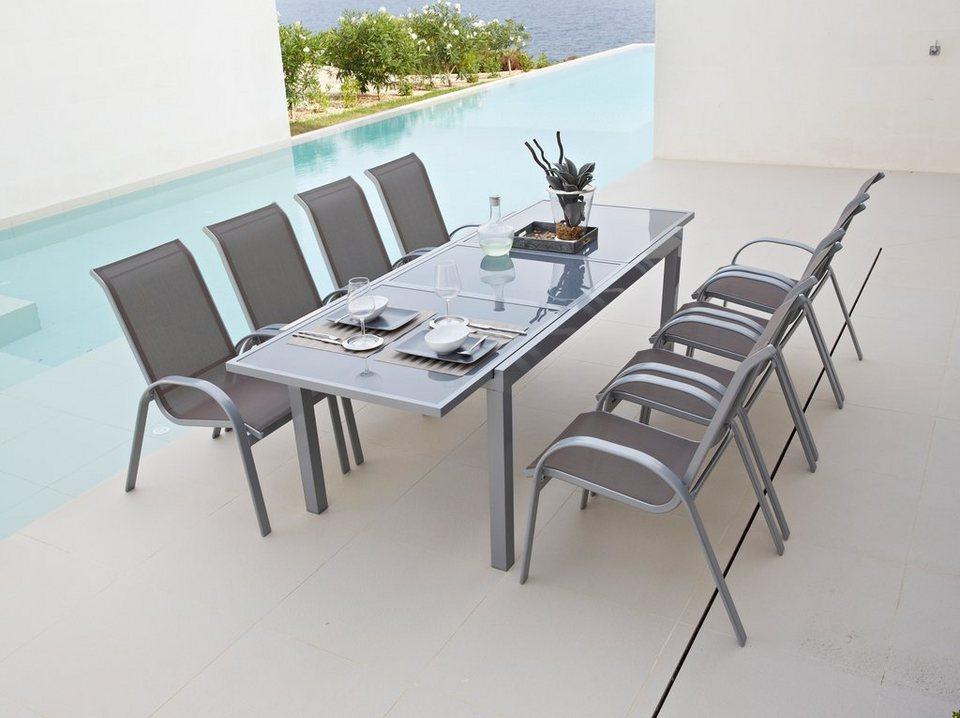 9-tgl. Gartenmöbelset »Amalfi«, 8 Sessel, Tisch180-240 cm, Alu/Textil in taupe