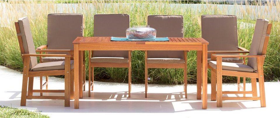 Gartenmöbelset »Vancouver«, 13-tgl., 6 Sessel, Tisch 150x80 cm, Eukalyptusholz, braun in braun