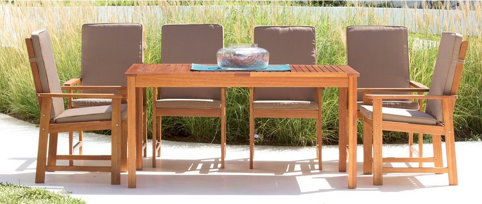 Gartenmöbelset »Vancouver«, 13 tlg., 6 Sessel, Tisch 150x80 cm