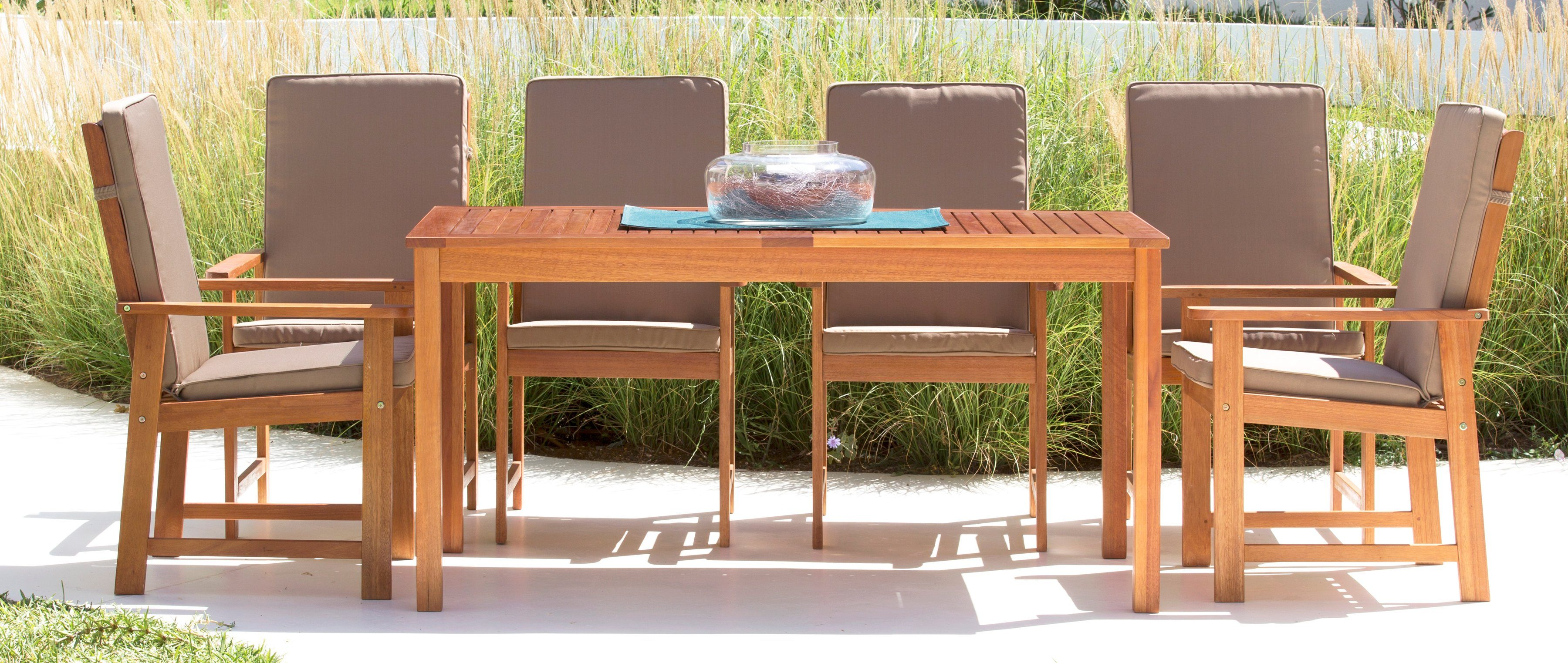 Gartenmöbelset »Vancouver«, 13-tgl., 6 Sessel, Tisch 150x80 cm, Eukalyptusholz, braun