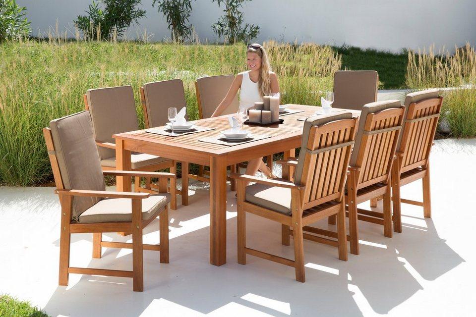 17-tgl. Gartenmöbelset »Vancouver«, 8 Sessel, Tisch 220x110 cm, Eukalyptusholz, braun in braun
