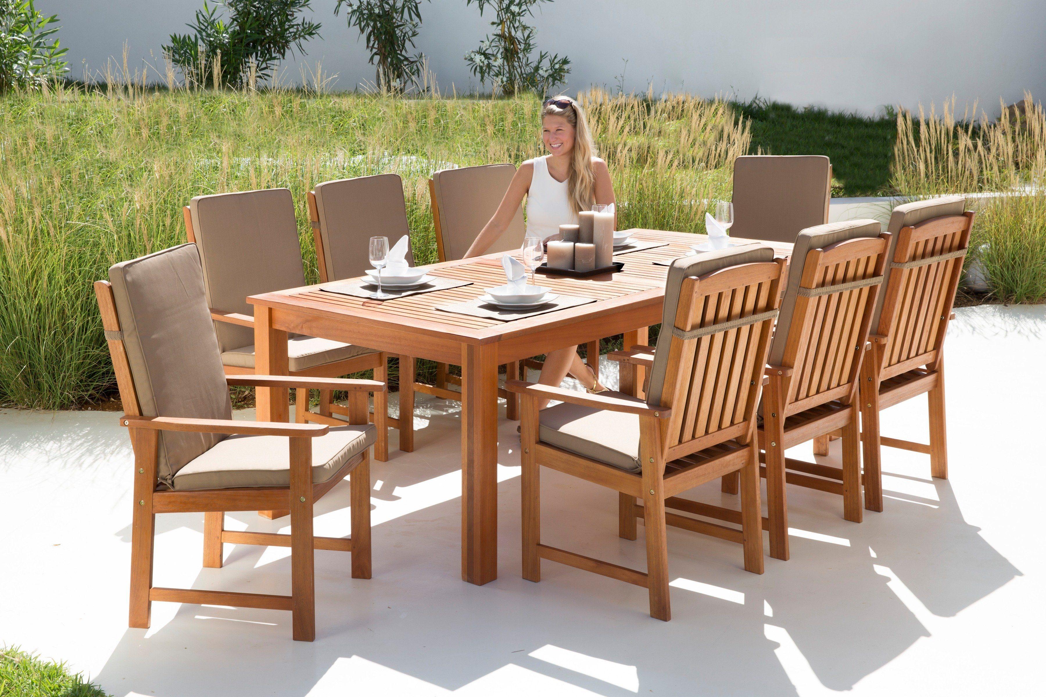 Gartenmöbelset »Vancouver«, 17-tgl., 8 Sessel, Tisch 220x110 cm, Eukalyptusholz, braun