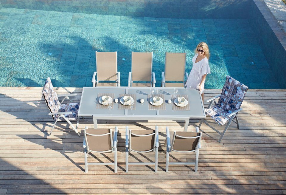 Merxx Gartenmobelset Amalfi 9 Tlg 8 Hochlehner Tisch 100x180