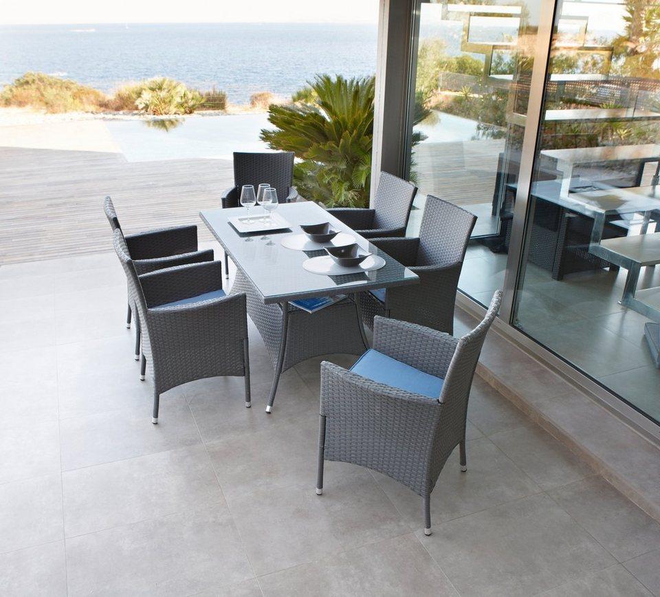 20-tgl. gartenmöbelset »santiago«, 6 sessel + auflagen, tisch, Gartenmöbel