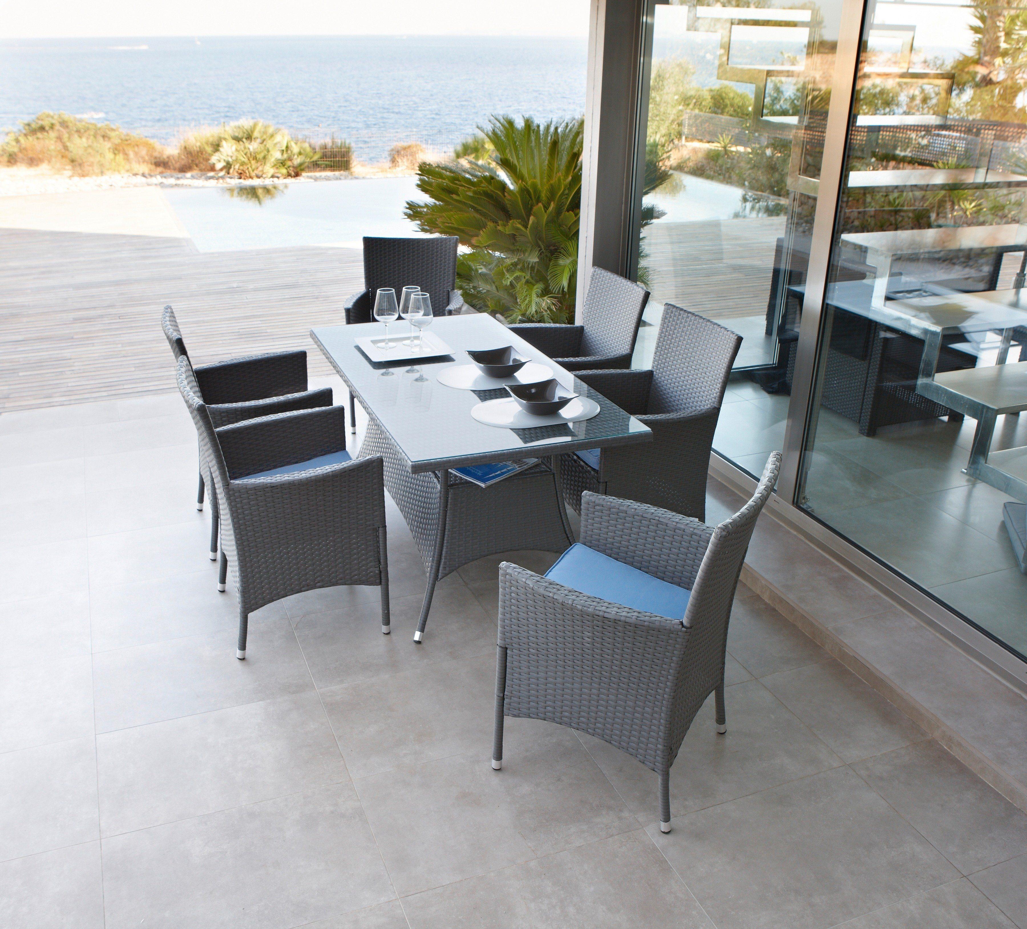 20-tgl. Gartenmöbelset »Santiago«, 6 Sessel, Tisch150x80 cm,Polyrattan, grau