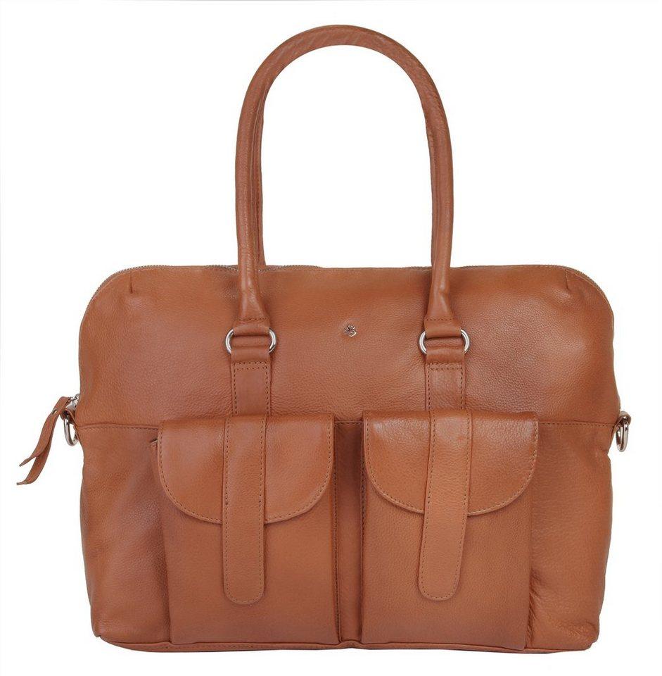 SZUNA Leder Damen Handtasche »Sand & Curry« in cognac