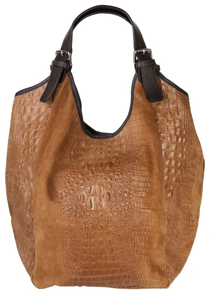 Samantha Look Leder Damen Shopper mit Krokoprägung in cognac