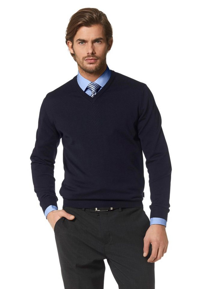 Olymp V-Ausschnitt-Pullover in marine