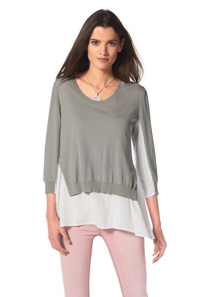 Liebeskind 2-in-1-Pullover in hellgrau-weiß