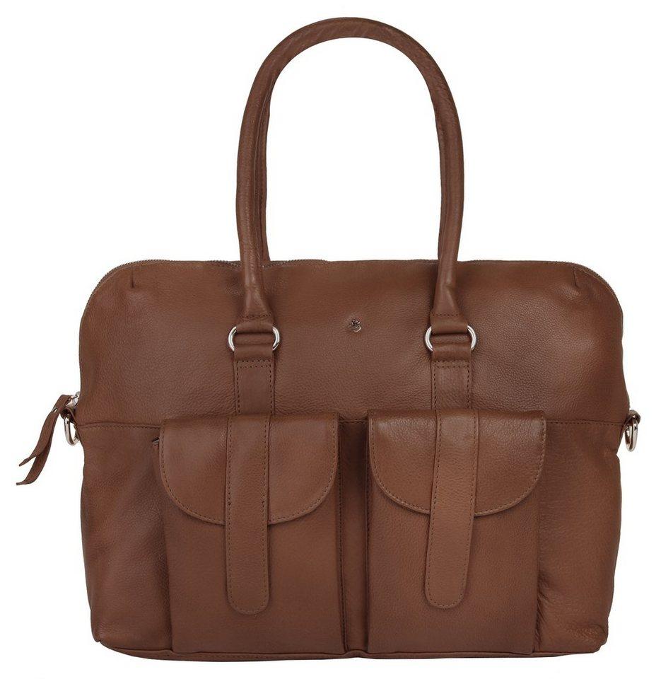 SZUNA Leder Damen Handtasche »Sand & Curry« in braun