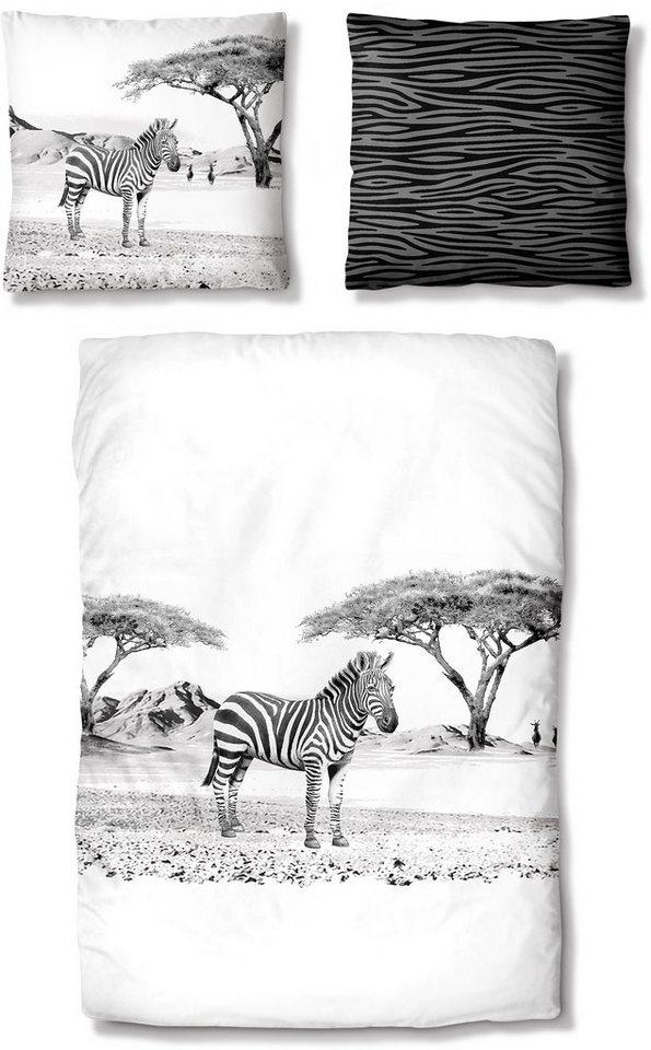 Bettwäsche, Auro Hometextile, »Zebra« in weiß-graphit
