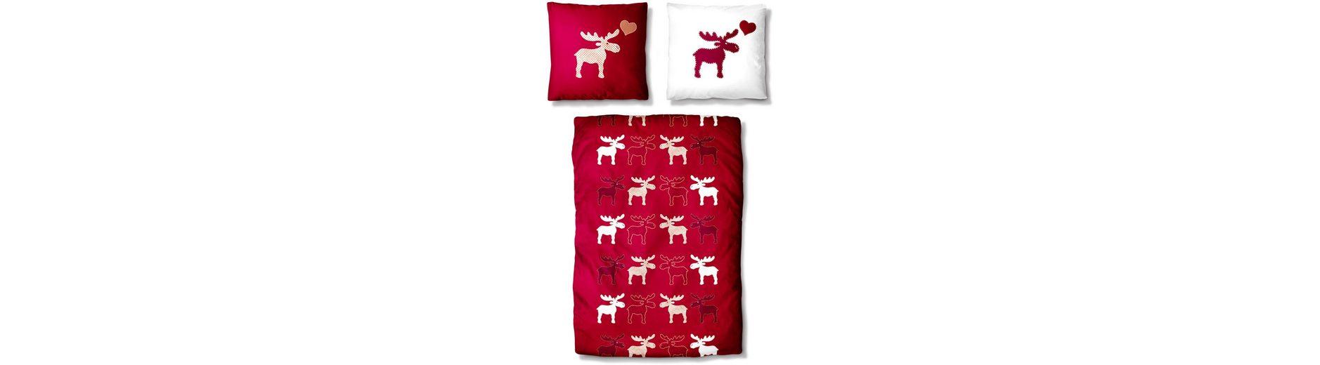 Bettwäsche, Auro Hometextile, »Lovely Elk«, mit Elch