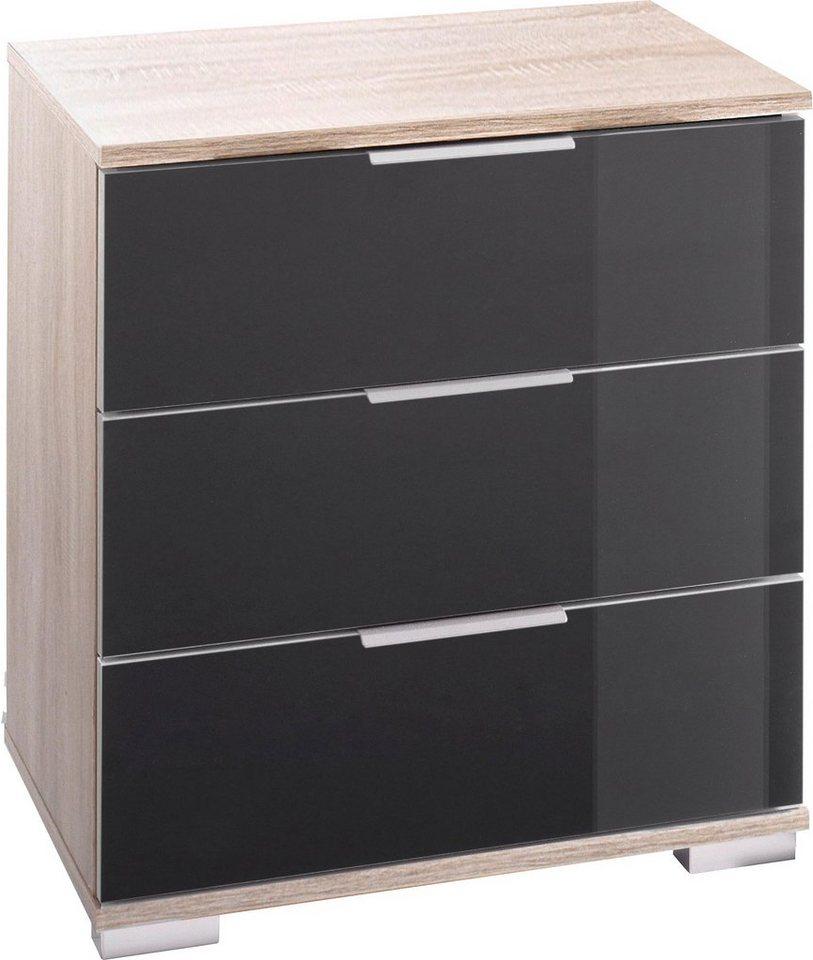Wimex Nachttisch in struktureichefarben hell/Grauglas