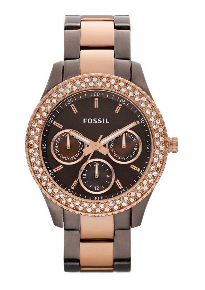 Fossil Multifunktionsuhr »STELLA, ES2955« in braun-roségoldfarben