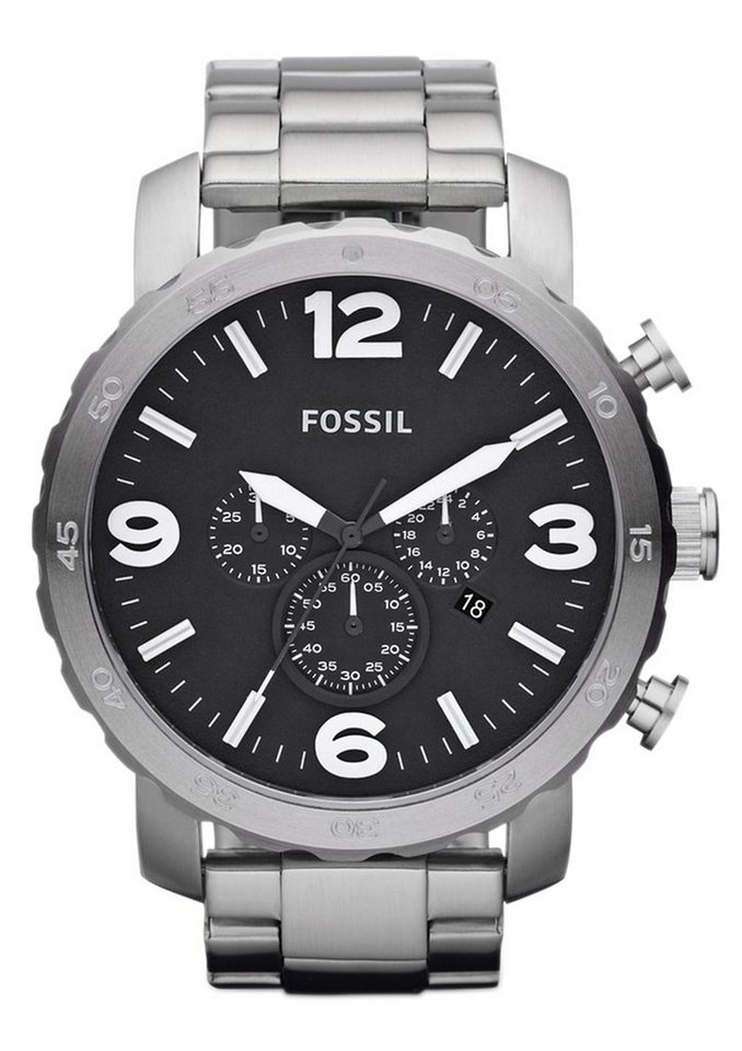 "Fossil, Chronograph, ""NATE, JR1353"" in silberfarben"