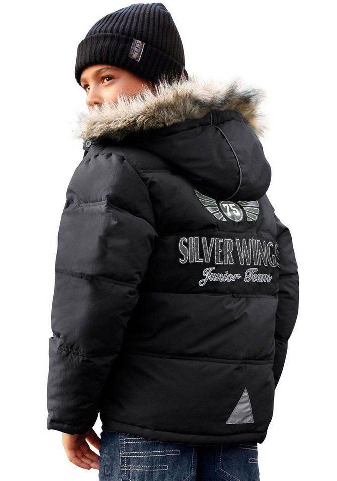 CFL Winterjacke mit großer Applikation auf dem Rücken in schwarz