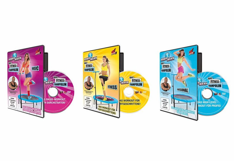3er Set Trampolin-Trainings-DVDs, Powermaxx, für »Anfänger«, »Fortgeschrittene« und »Profis«