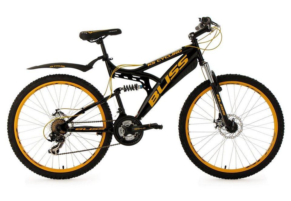 Fully-Mountainbike, 26 Zoll, schwarz, 21 Gang Kettenschaltung, »Bliss«, KS Cycling in schwarz