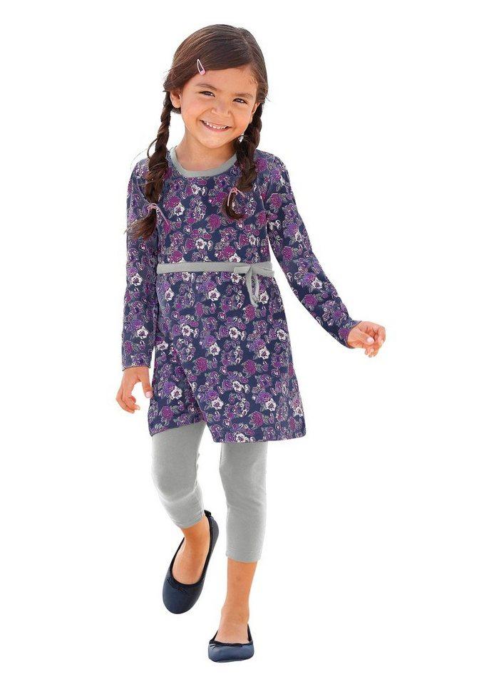 CFL Kleid & Leggings mit Blumen-Muster (Set, 2-tlg.), für Mädchen in Blau-Geblümt