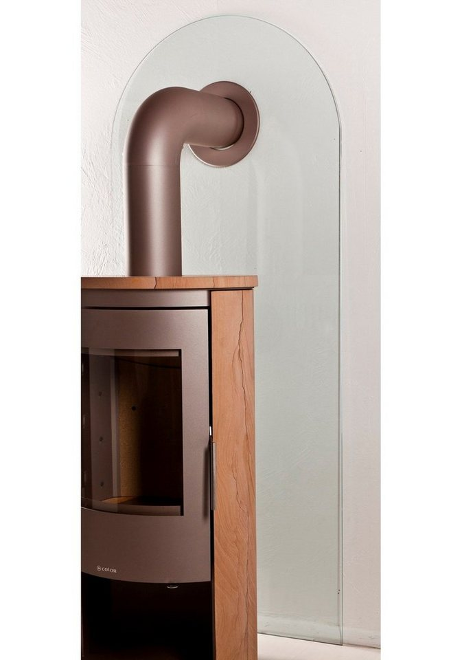 Glasfunkenschutzplatte für Kaminöfen »Segmentbogen« in weiß