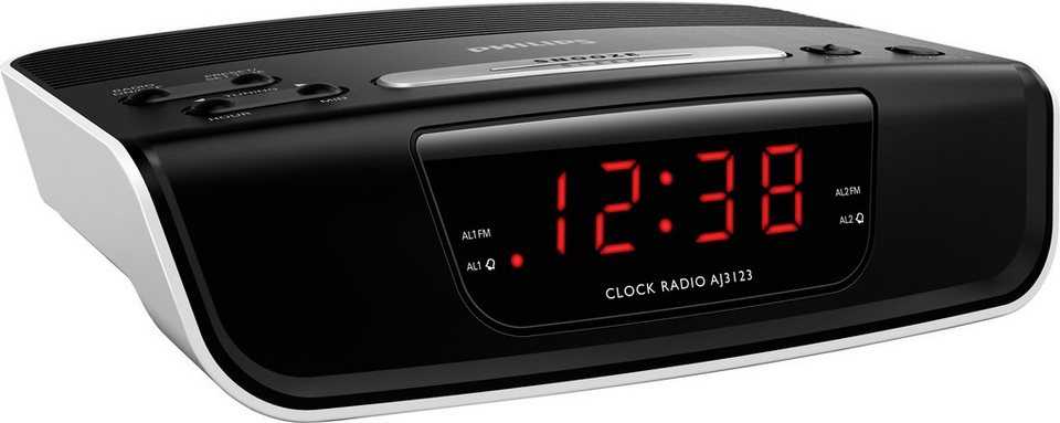 Philips AJ3123 Radiowecker in schwarz