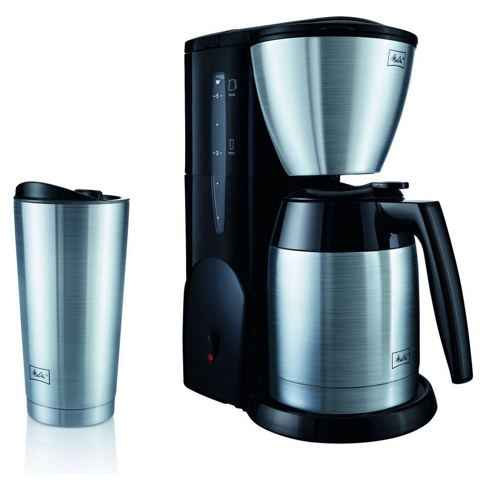 Melitta Filterkaffeemaschine Single5® Therm und Becher M728, 600 Watt in schwarz / Edelstahl