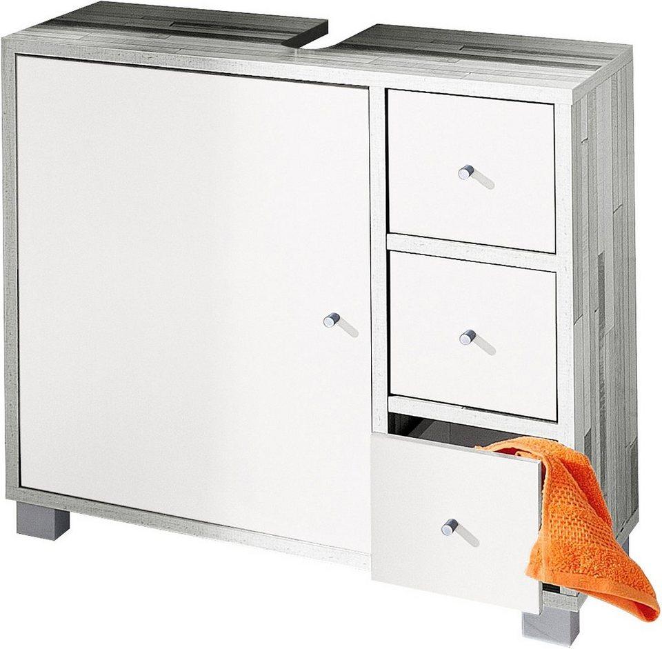 Waschbeckenunterschrank, Schildmeyer, »Beli« in woodstripe-weiß
