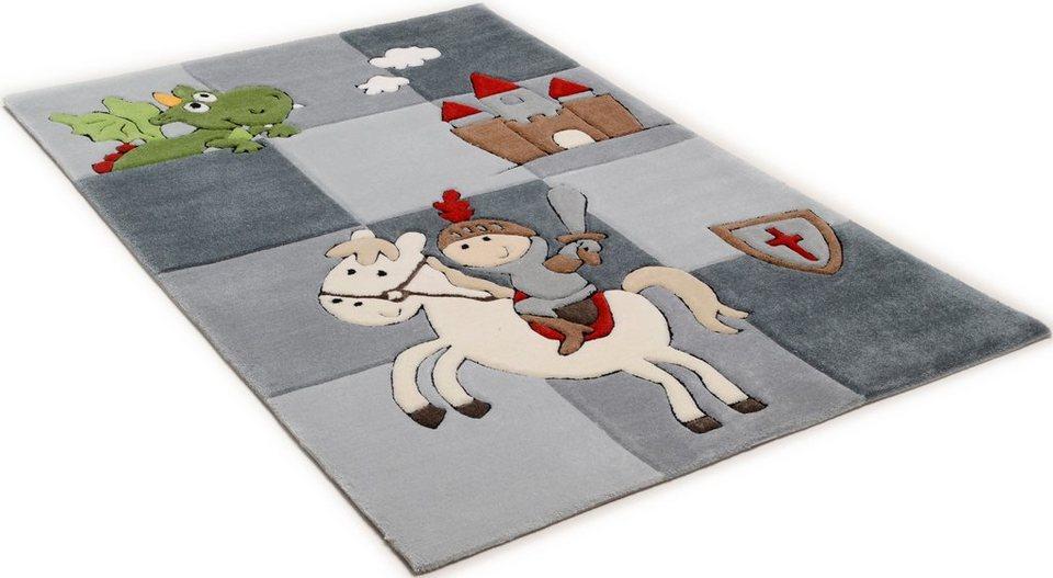 Kinder-Teppich, Theko, »Lisa«, handgearbeitet in grau