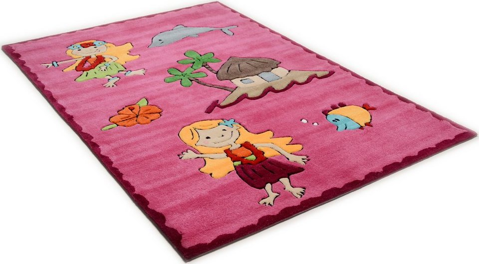 Kinderteppich »Maya«, Theko, rechteckig, Höhe 14 mm, Hochwertiges Acrylgarn, Handgearbeiteter Reliefschnitt (Carving) in pink