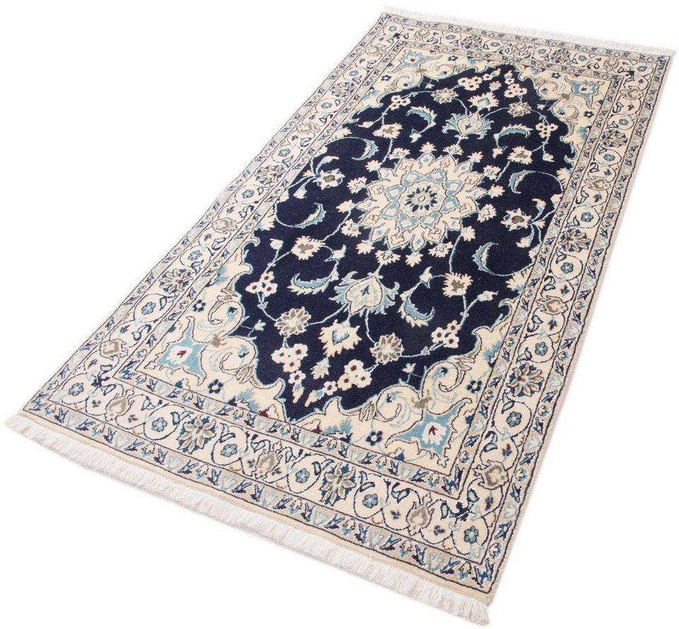 Orient-Teppich, Parwis, »Nain Khorasan6«, 180 000 Knoten/m², handgeknüpft, Unikat in dunkelblau