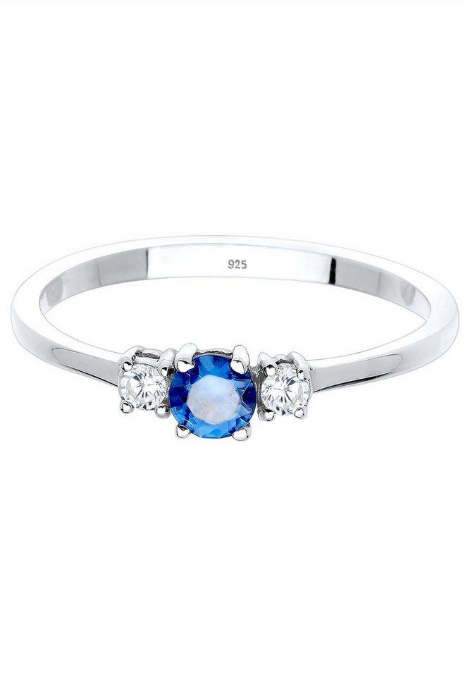 Elli Ring »Verlobungsring Zirkonia Saphirblau Silber« in blue