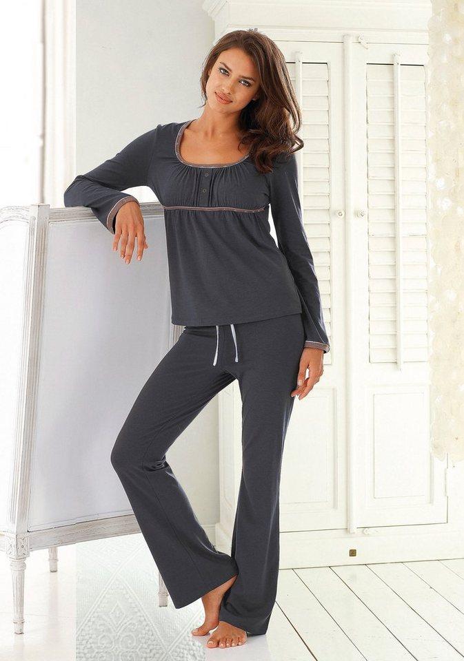 LASCANA Pyjama mit weitem Rundhalsausschnitt & Raffung in grau